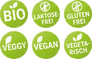 Bio, Vegan, Glutenfrei, vegetarisch, Laktosefrei