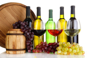 Assortment of wine in glasses and bottles